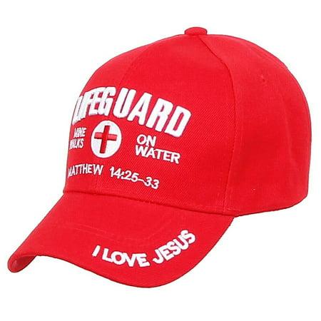 LIFEGUARD Baseball CAP Christian Jesus Hat Red Corss Mine Walks On Water (7fc024_Red)](Miner Hats)