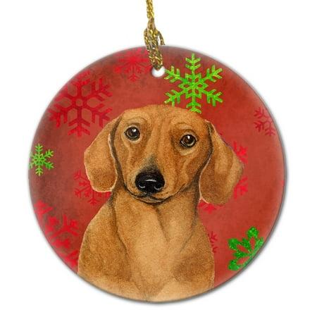 Dachshund Red Snowflake Holiday Christmas Ceramic Ornament LH9312 ()