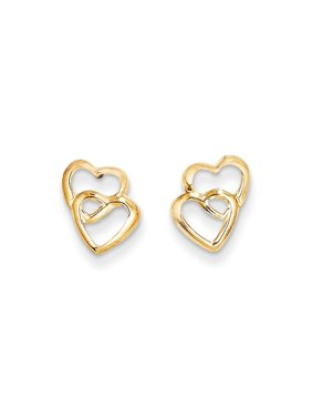 14k Yellow Gold Hearts Post Stud Earrings Love