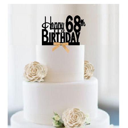 Item#068CTGR - Happy 68th Birthday Elegant Cake Decoration Topper with Gold Bow](Bow Tie Cake)