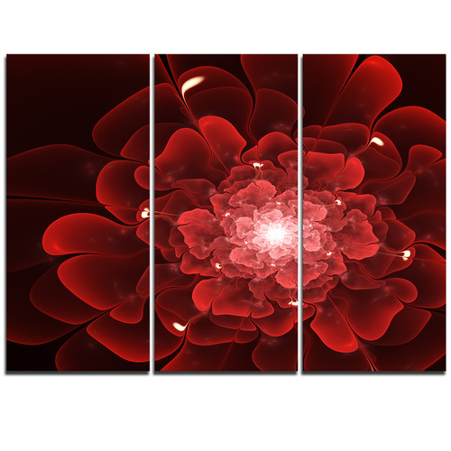 Design Art Fractal Flower Clear Red - 3 Piece Graphic Art on Wrapped Canvas Set