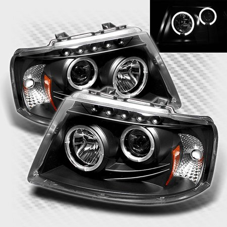 2003-2006 Ford Expedition Twin Halo LED Projector Headlights Black Head Lights Pair Left+Right 2004 2005