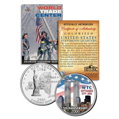 WORLD TRADE CENTER * 5th Anniversary * 9/11 New York State Quarter U.S. Coin WTC (Anniversary 3 Coin)