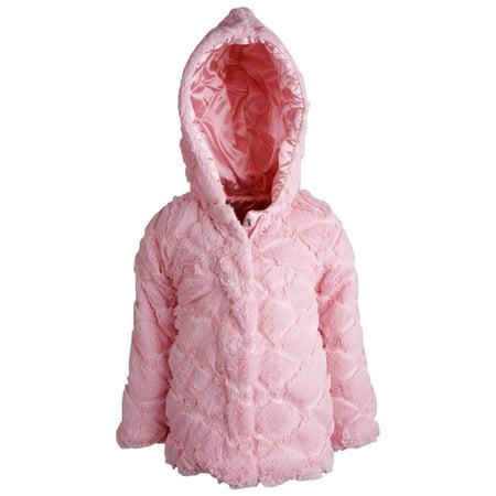 London Fog Baby Girls Reversible Furry to Shiny Lightweight Dressy Hood Jacket