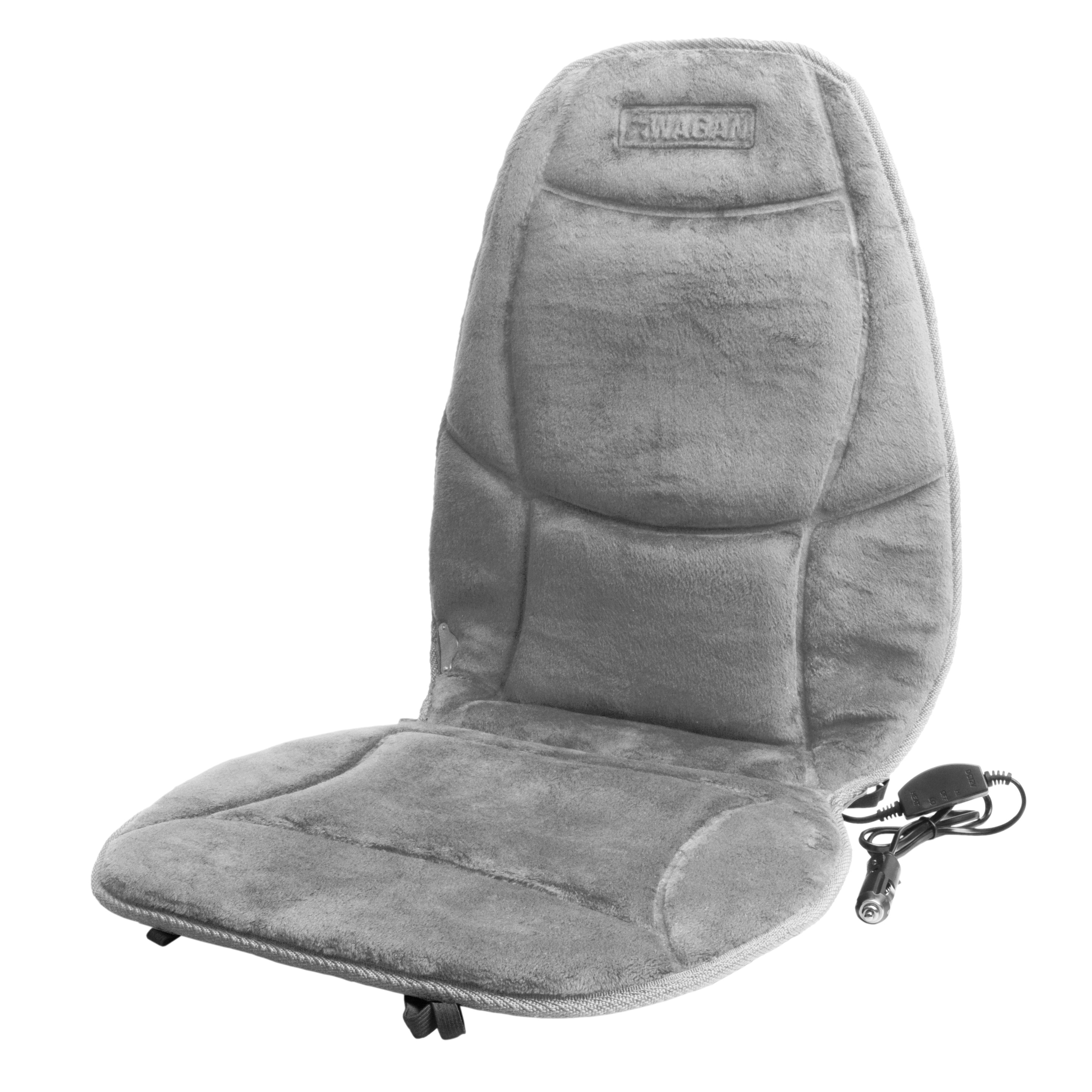 Wagan 12V Auto Soft Velour Heated Seat Cushion with Lumbar Support, Grey