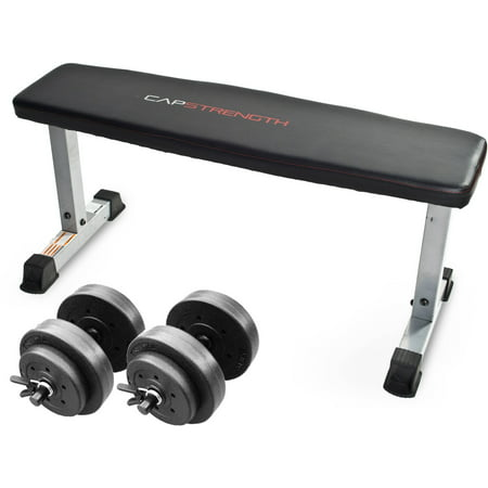 CAP Strength Flat Bench with Adjustable Dumbbell