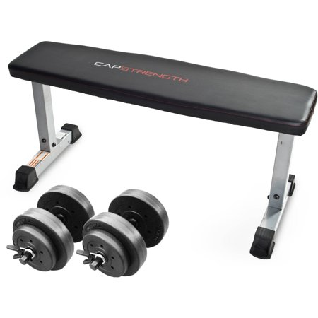 Cap Strength Flat Bench With Adjustable Dumbbell Set Walmart Com