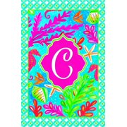 Tropical Fish and Coral Coastal Monogram C Double Sided 12 X 18 Inch Garden Flag
