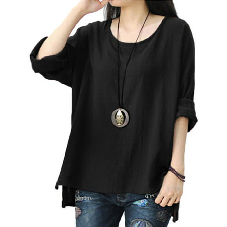 Women Crew Neck Long Sleeve Cotton Baggy Boho T-Shirt Tops Blouse Plus Size