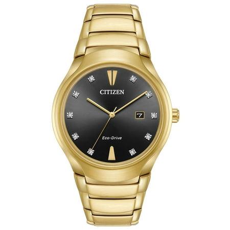 Paradigm Black Diamond Dial Mens Gold-Tone Watch AW1552-54E