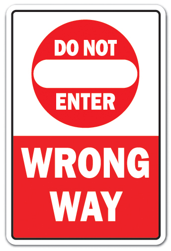 "Do Not Enter Wrong Way [3 Pack] of Vinyl Decal Stickers | 3.3"" X 5"" 