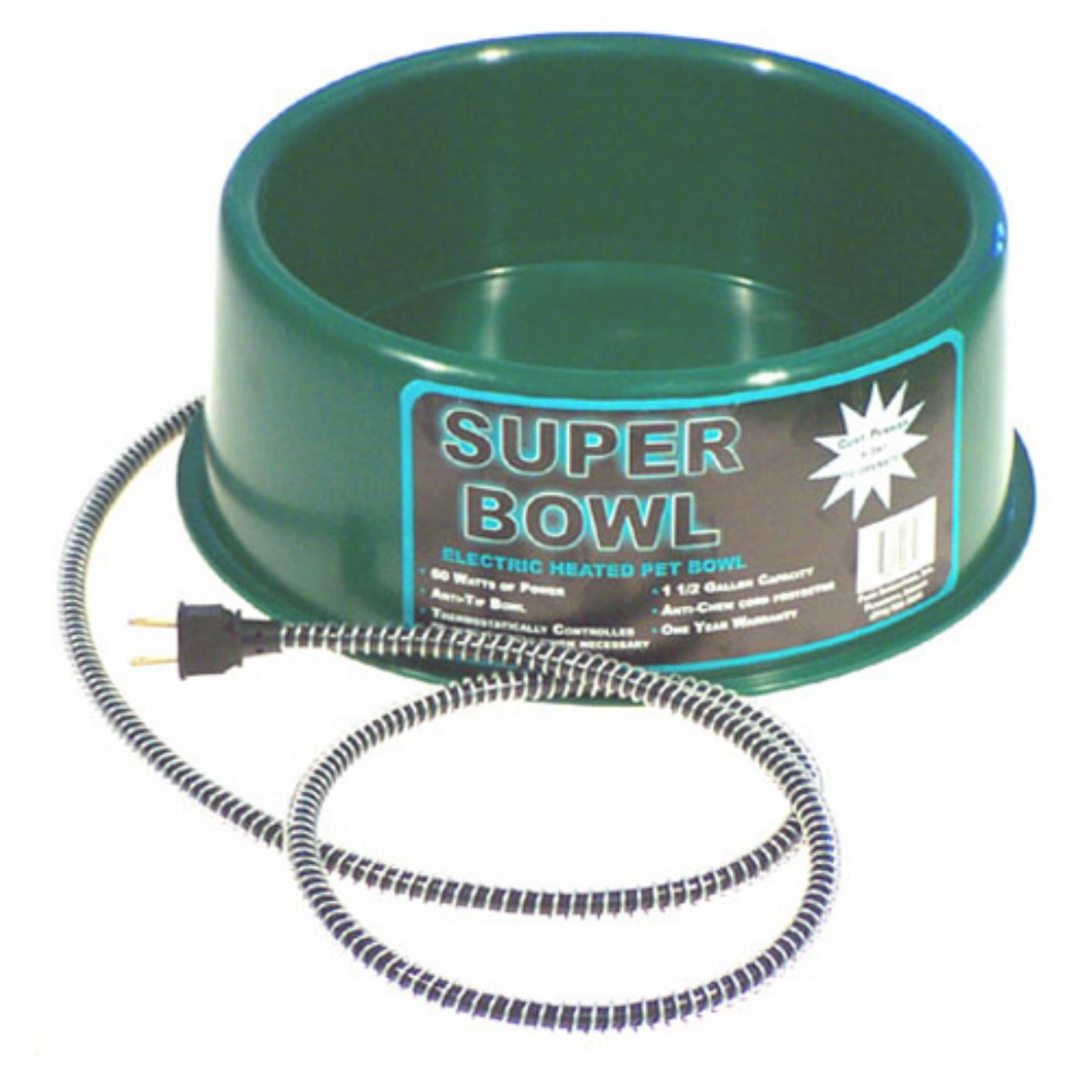 Farm Innovators Heated Pet Bowl, Round, Green, 1-1/2-Gal