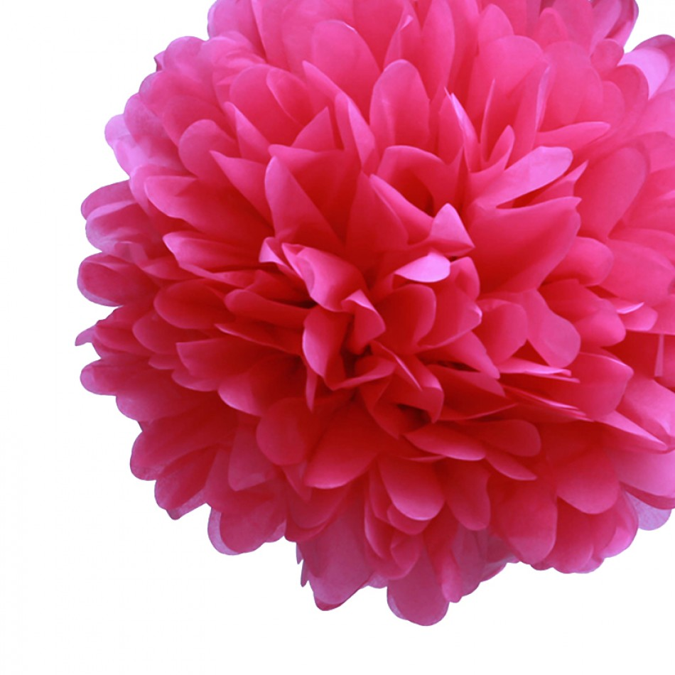 "Dress My Cupcake 6"" Fuchsia Tissue Paper Pom Poms, Bachelorette Decorations and Party Supplies, Set of 8"