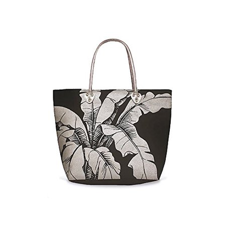 Beach Tote Bag With Glittering Silver Foil Icon Hawaiian Banana Leaf Black
