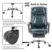 Ergonomic Gaming Chair, High Back Executive Office Chair w/Adjustable Pivoting Lumbar & Padded Footrest, Reclining Computer Chair with Arms, Swivel Napping Chair for Home Office, Fir Green, W3743