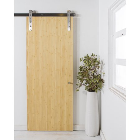 Rustica Hardware Chopstick Bamboo Barn Door With Rolling Hardware