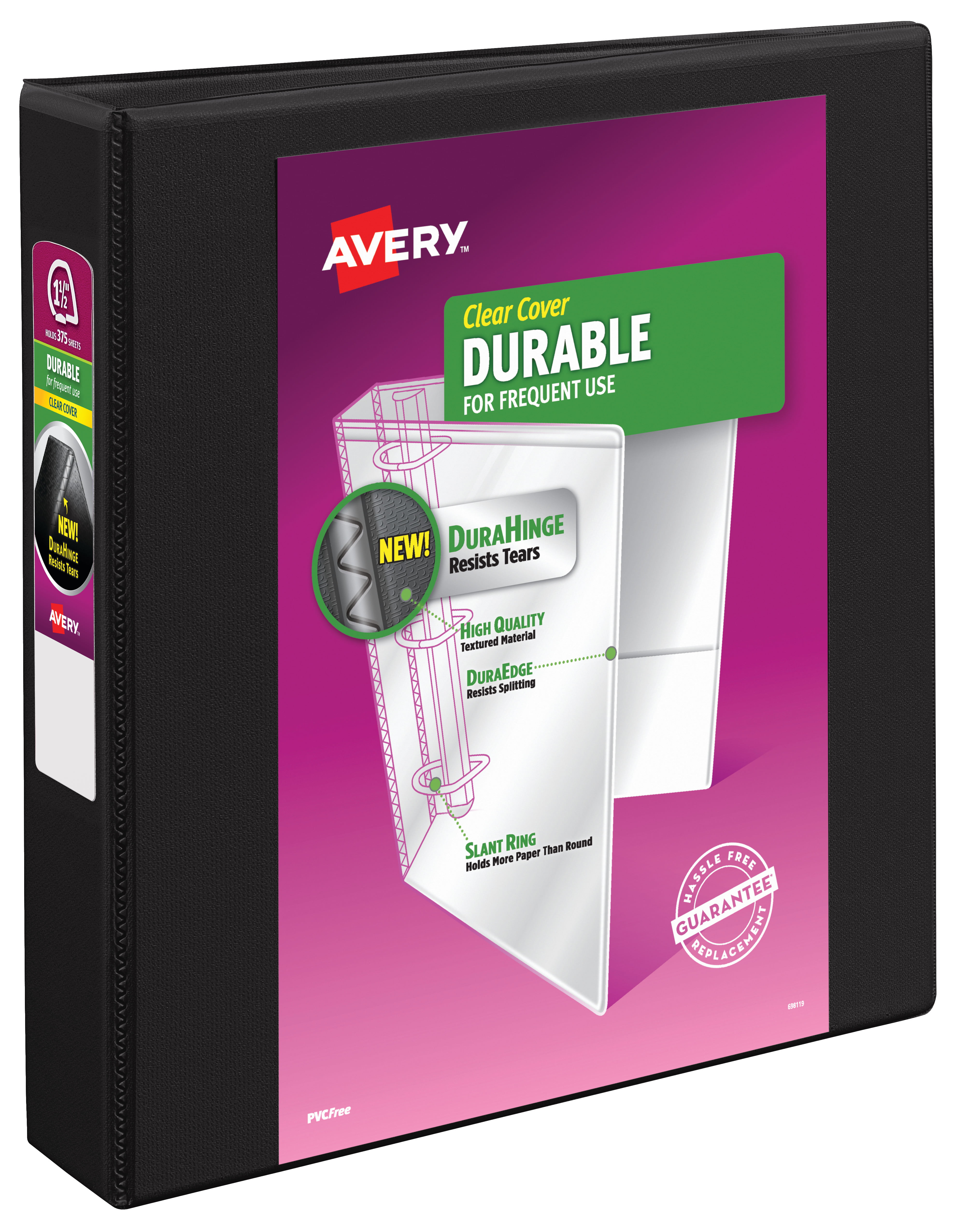 """Avery 1-1 2"""" Durable View Binder, Slant Ring, Black, 375 SHeets by Avery Products Corporation"""