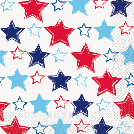 Bright Stars & Stripes Patriotic Paper Luncheon Napkins, 6.5in, 32ct