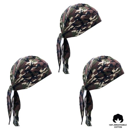 Elephant Brand Doo Rag 100% Cotton - Skull Cap Beanie for Cycling - Head Wrap Pack of 3 (Skulls)