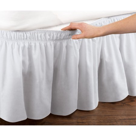 Quick Fit Elastic Ruffled Bed Skirt: Wrap Around Easy Fit, Queen, White