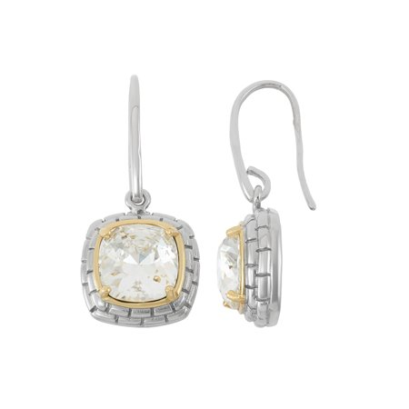 f533323ba High Polished Rhodium and Gold Plated Sterling Silver Cushion Cut ...