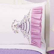 Herrschners Sarah Ruffled Pillowcase Pair Stamped Embroidery