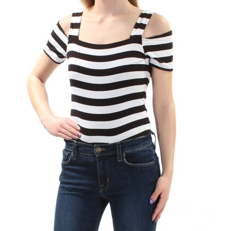 INC Womens Black Cut Out Striped Short Sleeve Off Shoulder Body Suit Top  Size: XXL