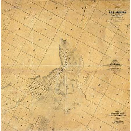 Map of The City of Los Angeles 1857 Poster Print by EO C