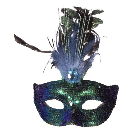 Costume Accessory - Sequin Covered Carnival Mask w/ Feathers & Faux Gem (Carnevil Costumes)