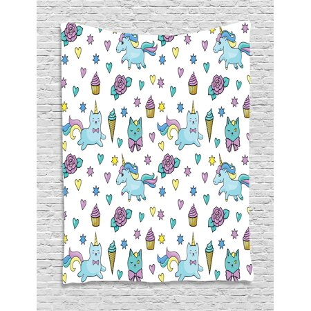Unicorn Cat Tapestry, Girls Pattern with Hearts Stars Flowers Ice Cream Cute Funny, Wall Hanging for Bedroom Living Room Dorm Decor, 40W X 60L Inches, Pale Blue Lavender Yellow, by Ambesonne (Unicorn Flowers)