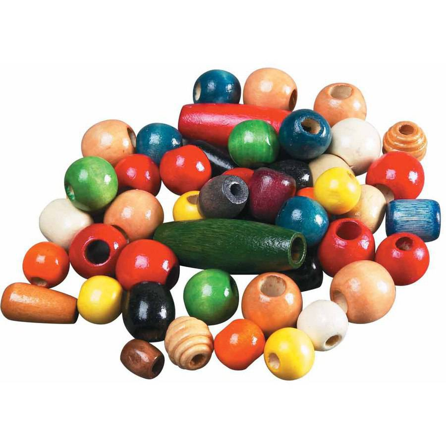 "School Smart Wood Assorted Shape Bead, 0.5""-1"", Assorted Color, Pack of 460"