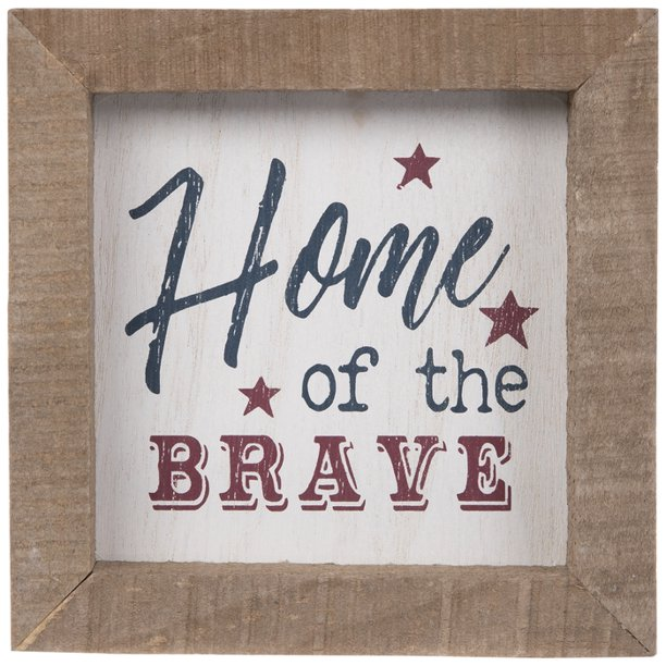 Home Of The Brave Wood Wall Decoration Home Decor 4th Of July Walmart Com Walmart Com