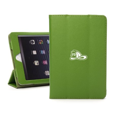 For Apple iPad Mini 4 Green Leather Magnetic Smart Case Cover Stand Firefighter (Best Leather Fire Helmet)