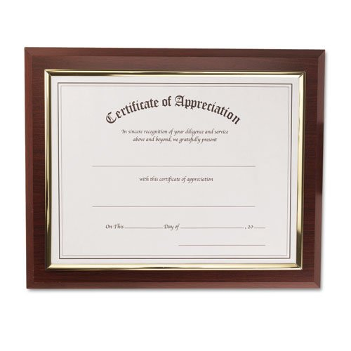"""Nu-dell Insertable Executive Award Plaque - 13"""" X 10.50"""" Frame - 11"""" X 8.50"""" Insert - Wall Mountable - Horizontal, Vertical - Plastic - Gold, Walnut (18851M)"""