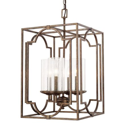 Capital Lighting Avanti Four Light Foyer Rustic Finish With Seeded Gl
