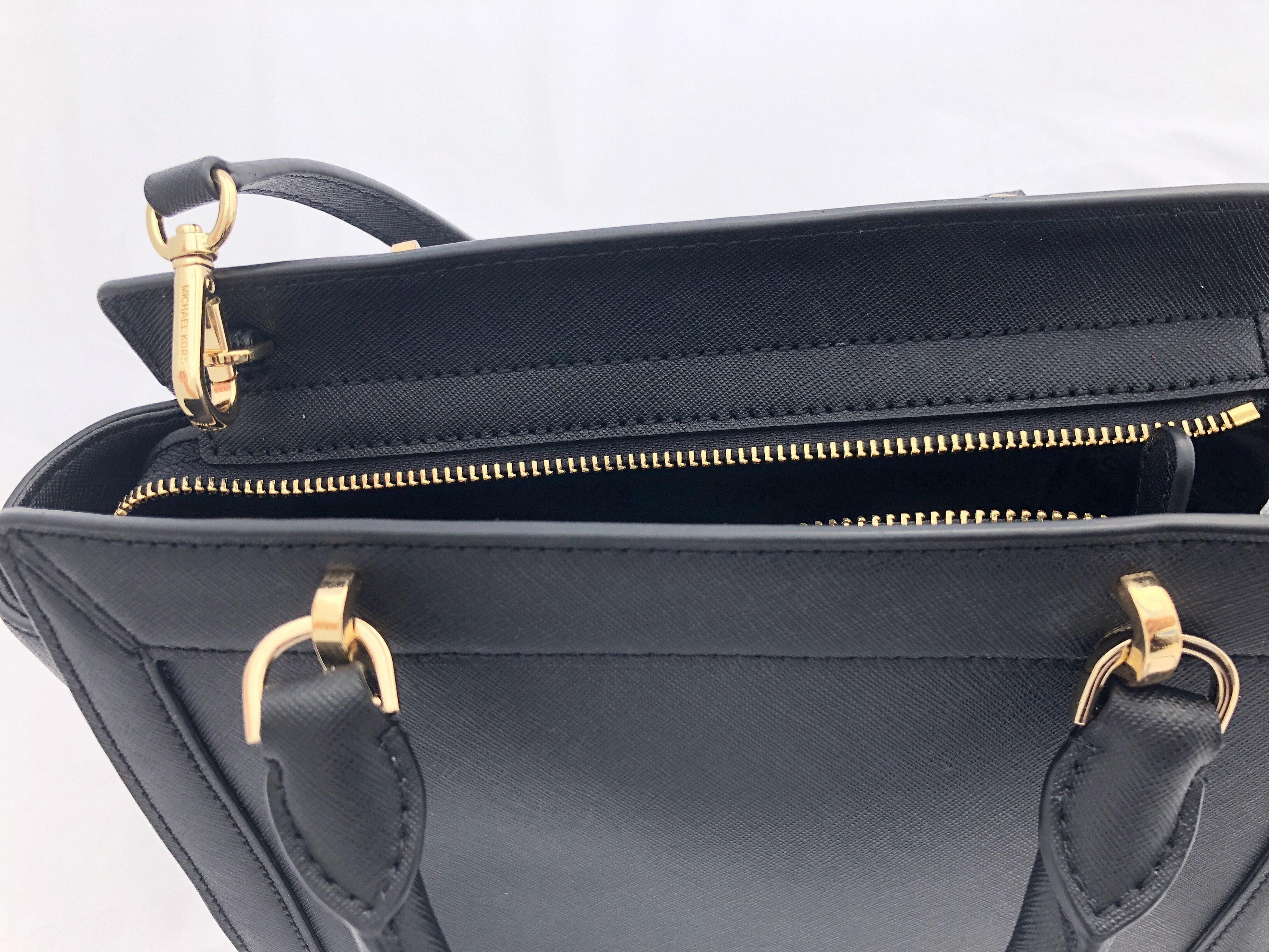 f6b9b5a8fccb3a Michael Kors - NWT Michael Kors Tina Small Top Zip Satchel Handbag  Crossbody Black Messenger - Walmart.com