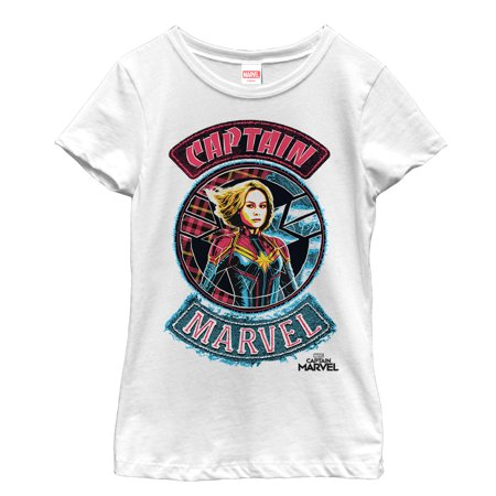 Marvel Girls' Captain Marvel Hero Patch T-Shirt - Marvel Heroes Womens