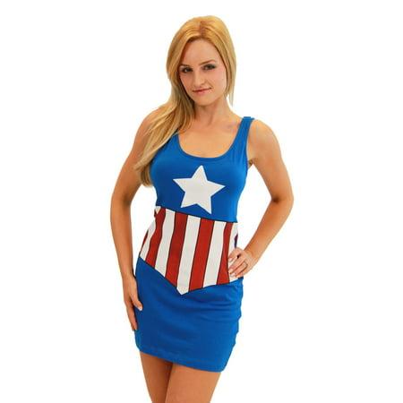 Women's Captain America Cotton/Spandex Tank Dress