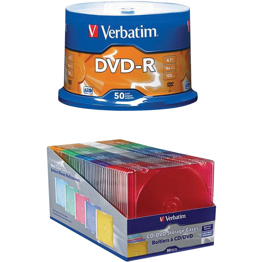 Verbatim CD/DVD Slim Color Cases (50-Pack) and 4.7GB DVD-Rs (50-Pack)