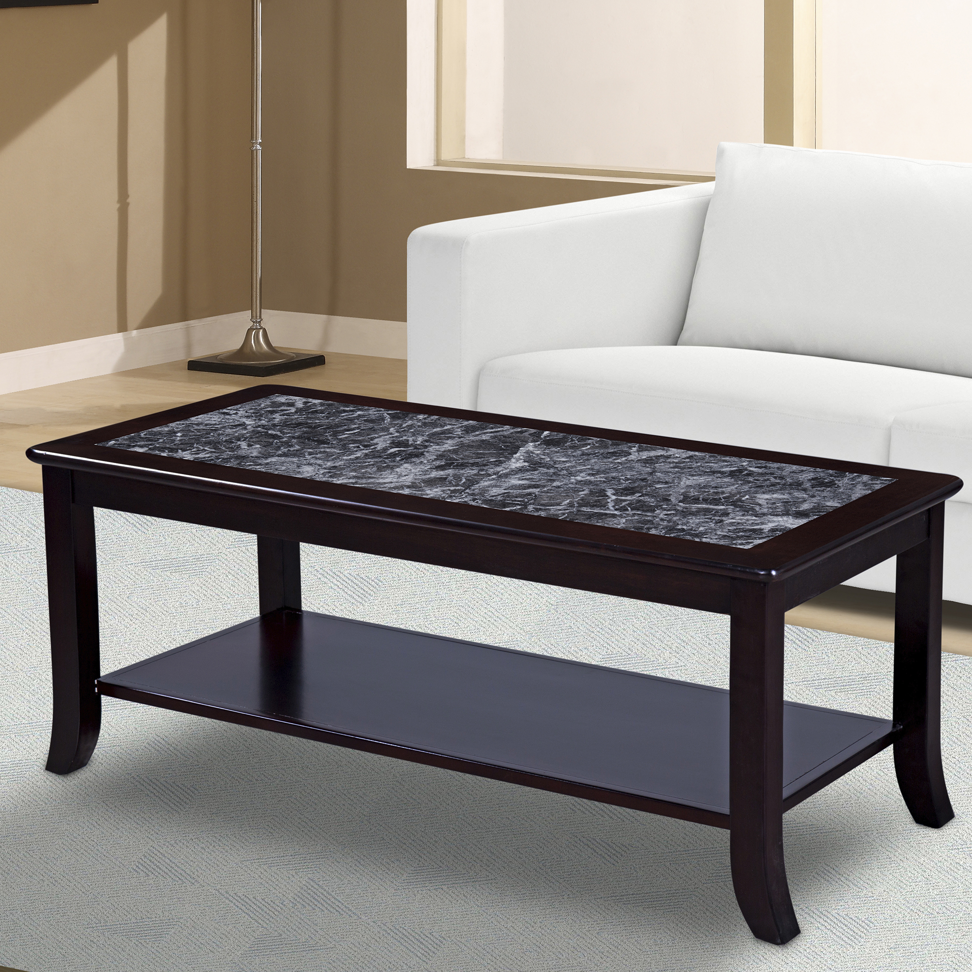 GranRest Marble Top Coffee Table, Black, Wood Frame