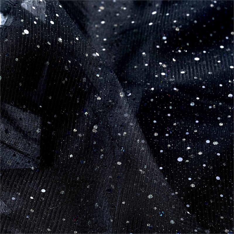 54 inches x 15 yards Sparkled Sequin Tulle Fabric Bolt For Favor Decor - Black