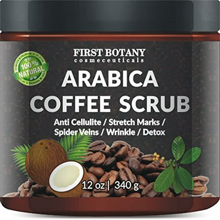 100% Natural Arabica Coffee Scrub with Organic Coffee, Coconut and Shea Butter - Best Acne, Anti Cellulite and Stretch Mark treatment, Spider Vein Therapy for Varicose Veins & Eczema (12 (Best Butter)