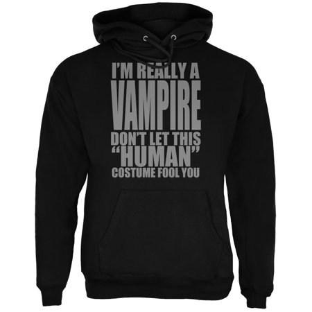 Hitman Halloween Costume (Halloween Human Vampire Costume Mens Hoodie Black)