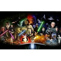 Star Wars Luke Skywalker Chewbaca Princess Leia Darth Vader Light Sabers Yoda Spaceships R2D2 C3PO Edible Cake Topper Image