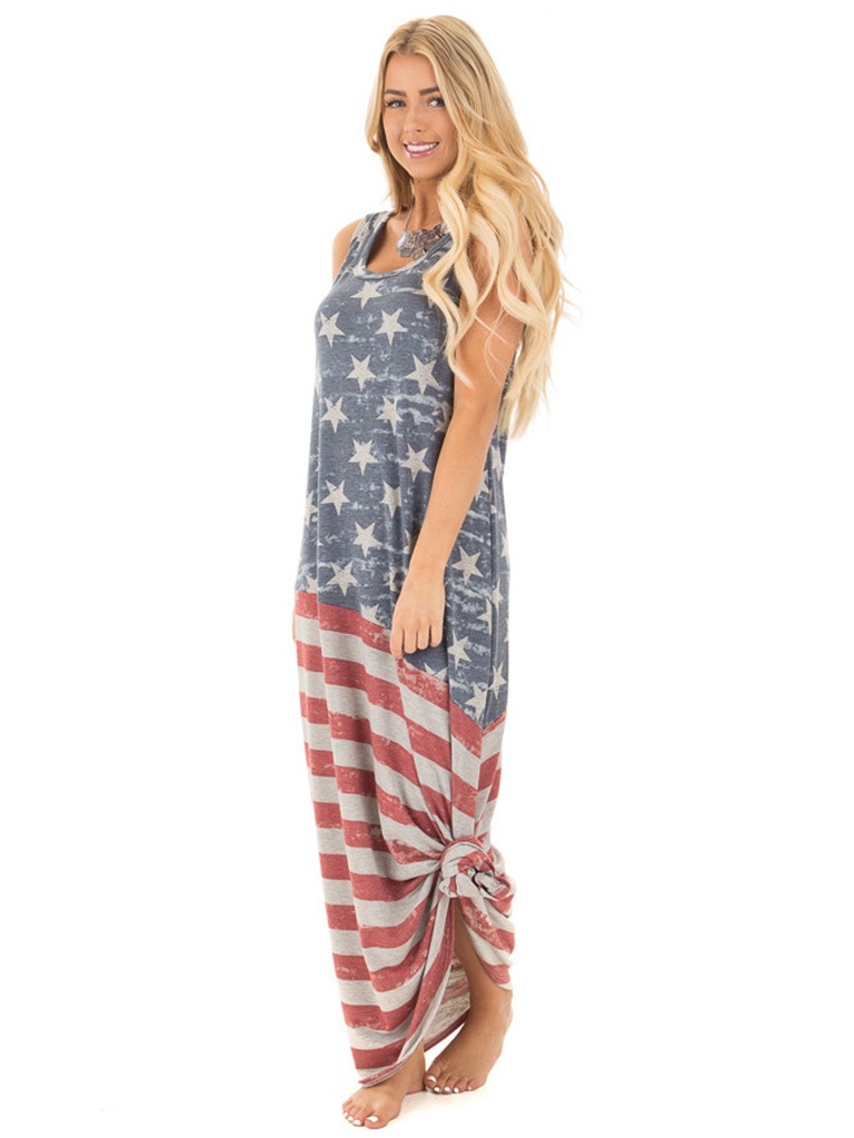 08c84723d112 Sleeveless Star Print Women Striped Long Maxi Dress Summer Wear -  Walmart.com