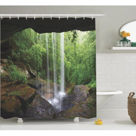 Bath Habitat Set (Natural Cave Decorations Shower Curtain Set, Still Waterfall In The Forest In Northern Alabama Habitat Ecosystem Scenery, Bathroom Accessories, 69W X 70L Inches, By Ambesonne)