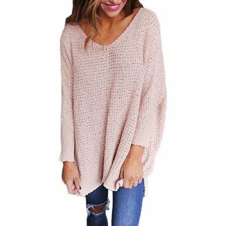 Knitted Outerwear - Akoyovwerve Womens Casual Long Sleeve Knitted Sweater V Neck Pullover Loose Top Jumper Sweater Outerwear - Pink