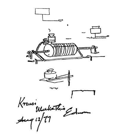 Edisons First Working Drawing of the Phonograph Rolled Canvas Art - Science Source (24 x - Edison Phonograph