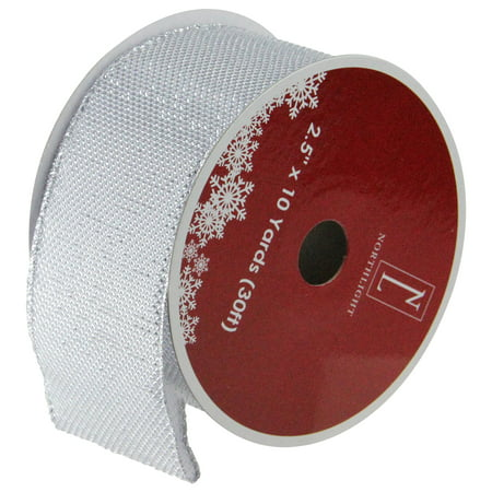 Simply Gray Burlap Wired Christmas Craft Ribbon 2.5