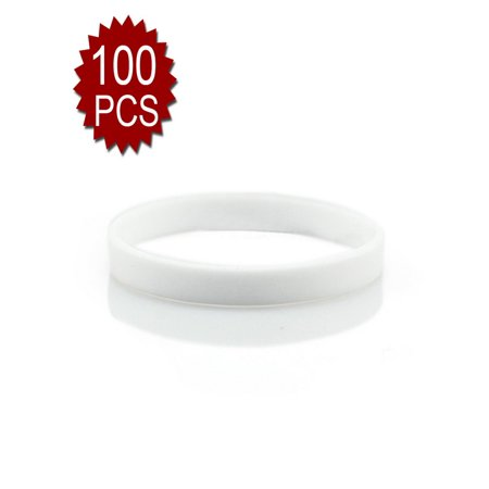 GOGO 100 Pcs Thin Silicone Wristbands, Rubber Bracelets, Party Favors-White for $<!---->